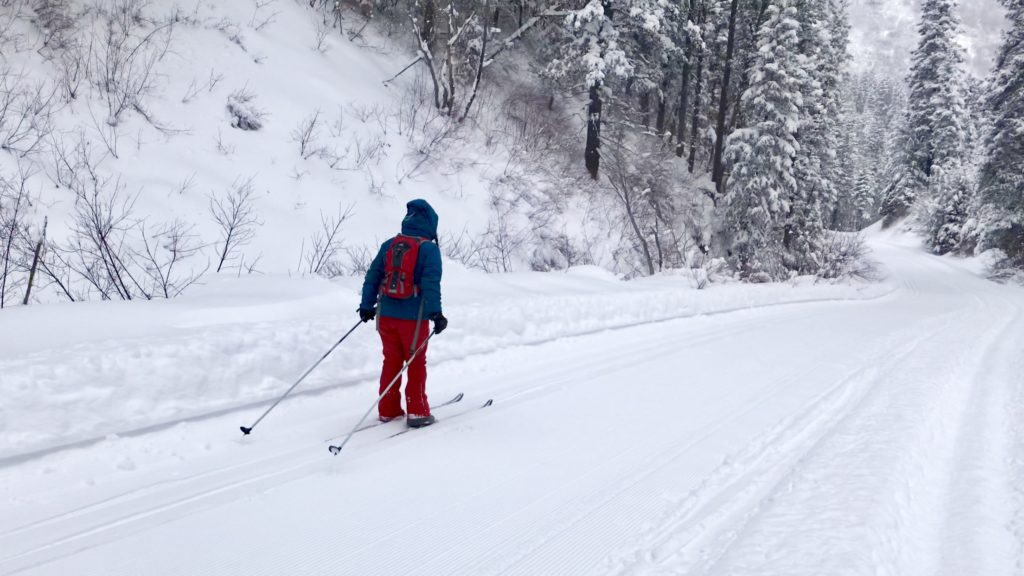 Cross-country skiing down Millcreek Canyon