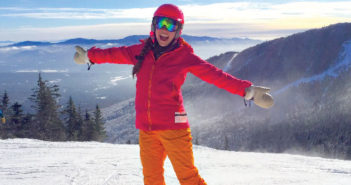 Editor Jenny Willden snowboarding at Stowe, Vermont