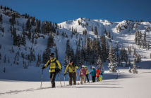 Group of Skiers touring the Utah Interconnect tour