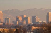 City skyline of Salt Lake City during pollution inversion