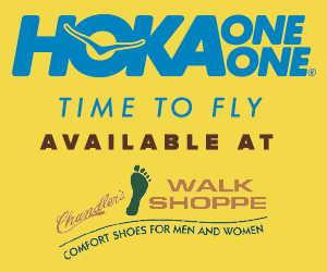 Hoka One One available at Chandler Walk Shoppe