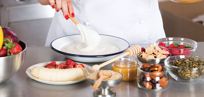 chef making parfait