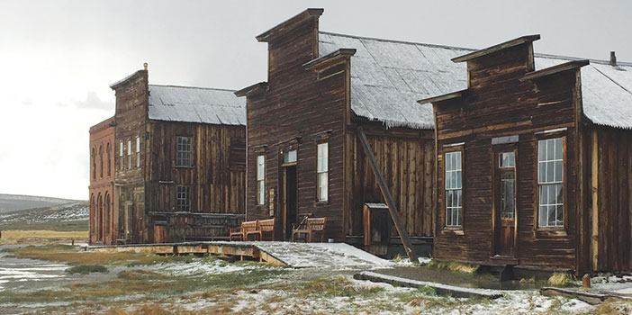 Decaying buildings in Bodie ghost town.