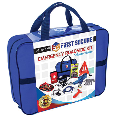 First secure 90-piece emergency roadside kit product photo