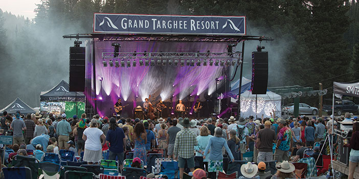 Crowd and stage at Grand Targhee Bluegrass festival