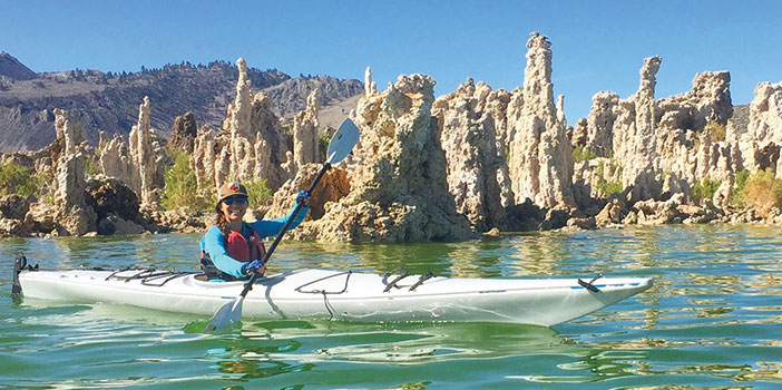 Editor Jenny Willden kayaking at Mono Lake California