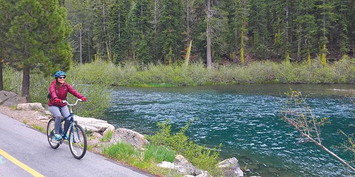 Jenny Willden biking near Lake Tahoe, California