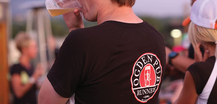 Utah Pub Runner enjoying a beer after a run
