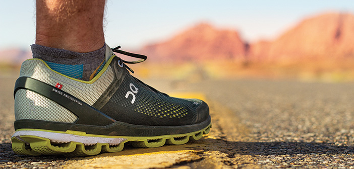 running shoe on the road